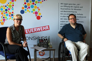 Projektleiterin Meike Kurtz im Dialog mit Matthias Rösch